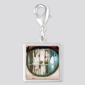 puppys eyes Silver Square Charm