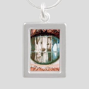 puppys eyes Silver Portrait Necklace