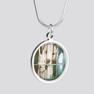 puppys eyes Silver Round Necklace
