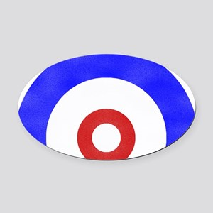 Curling Circle Oval Car Magnet