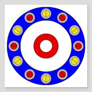 "Curling Clock Square Car Magnet 3"" x 3"""