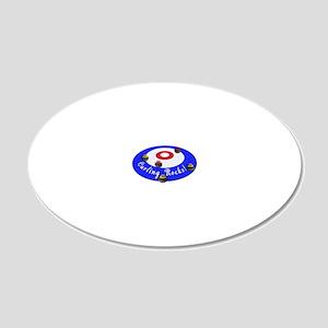 Curling Rocks WC 20x12 Oval Wall Decal