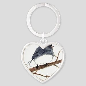 dark eyed junco Heart Keychain