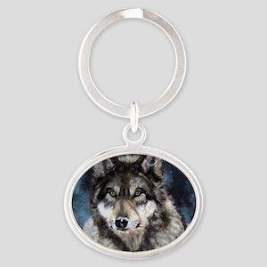 Gray Wolf Oval Keychain