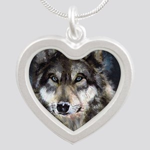 Gray Wolf Silver Heart Necklace