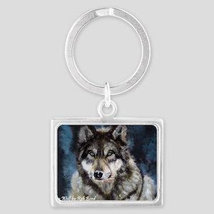 Gray Wolf Landscape Keychain