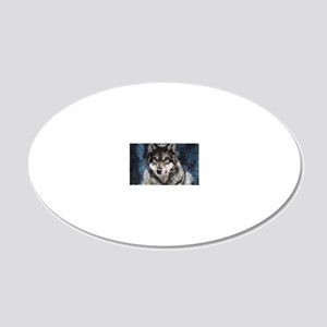 Gray Wolf 20x12 Oval Wall Decal