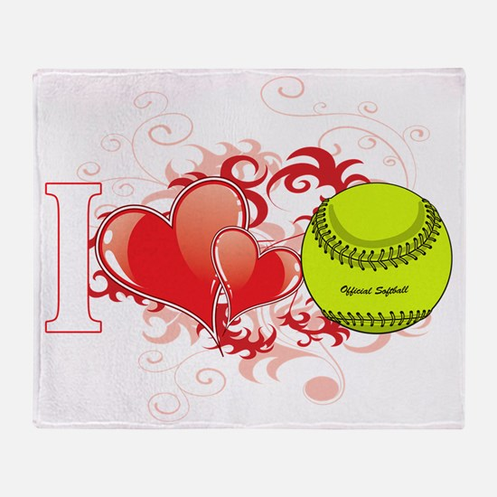 l love Softball(blk) Throw Blanket