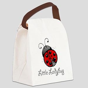 Ladybug -white Canvas Lunch Bag