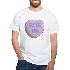 Bite Me Valentine Heart White T-Shirt
