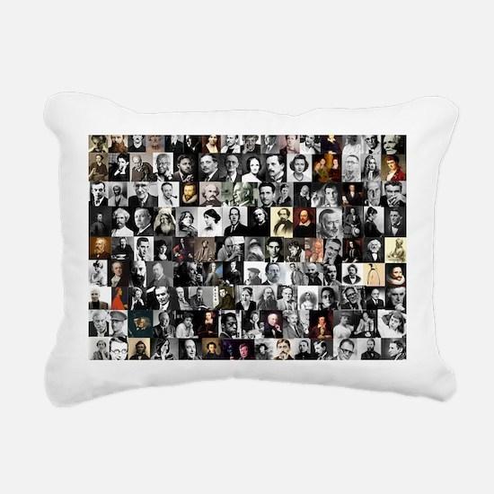 Dead Writer Collage Rectangular Canvas Pillow