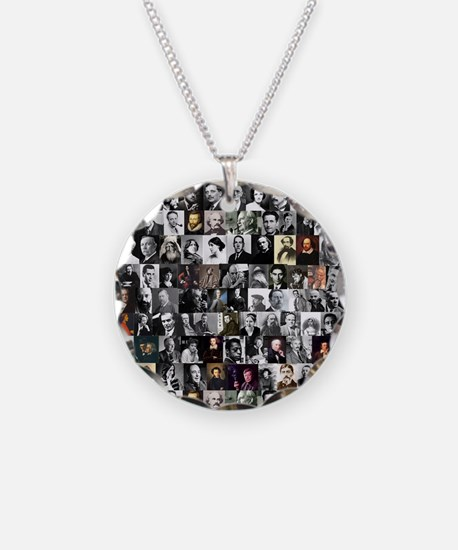 Dead Writers Collage Necklace Circle Charm