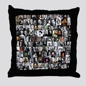 Dead Writers Collage Throw Pillow