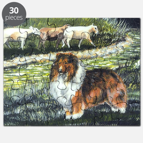 sable sheltie with sheep Puzzle