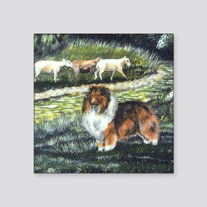"""sable sheltie with sheep Square Sticker 3"""" x 3"""""""