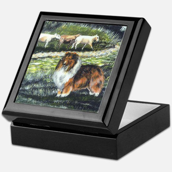 sable sheltie with sheep Keepsake Box