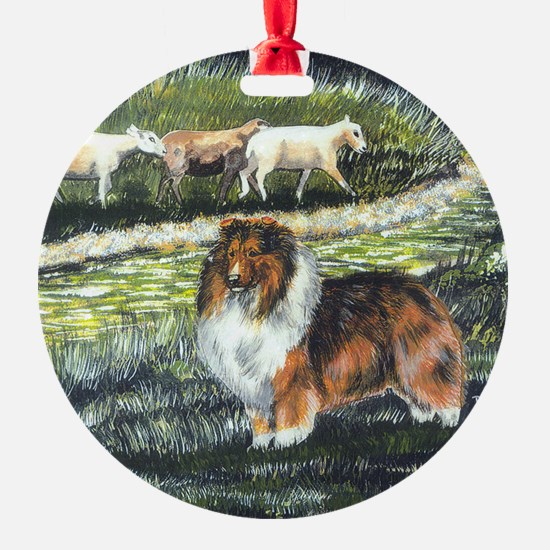 sable sheltie with sheep Ornament