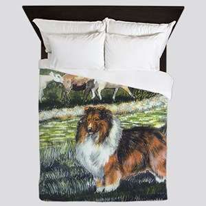 sable sheltie with sheep Queen Duvet