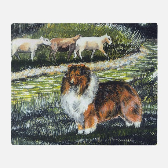 sable sheltie with sheep Throw Blanket