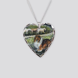 sable sheltie with sheep Necklace Heart Charm
