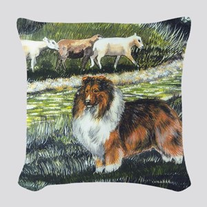 sable sheltie with sheep Woven Throw Pillow