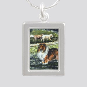 sable sheltie with sheep Silver Portrait Necklace