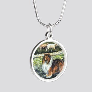 sable sheltie with sheep Silver Round Necklace