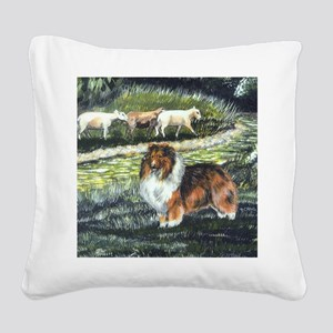 sable sheltie with sheep Square Canvas Pillow
