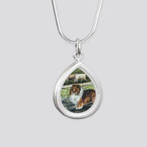 sable sheltie with sheep Silver Teardrop Necklace