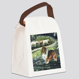 sable sheltie with sheep Canvas Lunch Bag