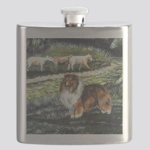 sable sheltie with sheep Flask