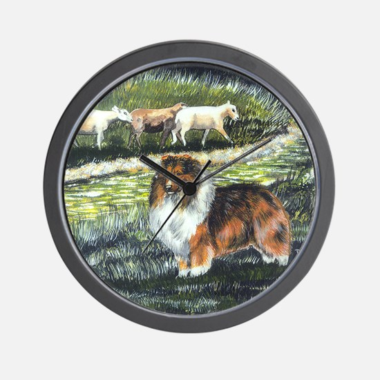 sable sheltie with sheep Wall Clock