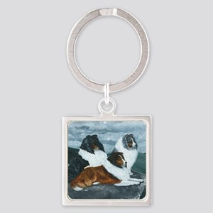 Mountain Mist Sheltie Square Keychain
