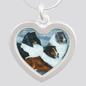 Mountain Mist Sheltie Silver Heart Necklace