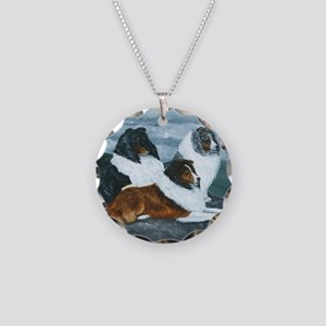 Mountain Mist Sheltie Necklace Circle Charm