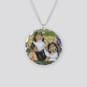 shetlie flower pair Necklace Circle Charm