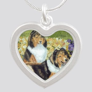 shetlie flower pair Silver Heart Necklace