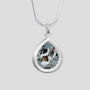 sheltie versatility Silver Teardrop Necklace