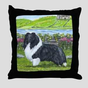 Bi Black Sheltie Throw Pillow