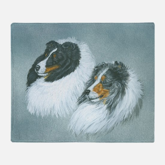 Blue and Tri Sheltie Heads Throw Blanket