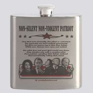 non violent non silent blk and red on white Flask