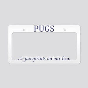 2-FIN-pug-pawprints-CROP License Plate Holder
