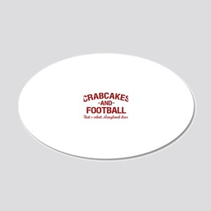 2-Crabcakes-and-Football 20x12 Oval Wall Decal