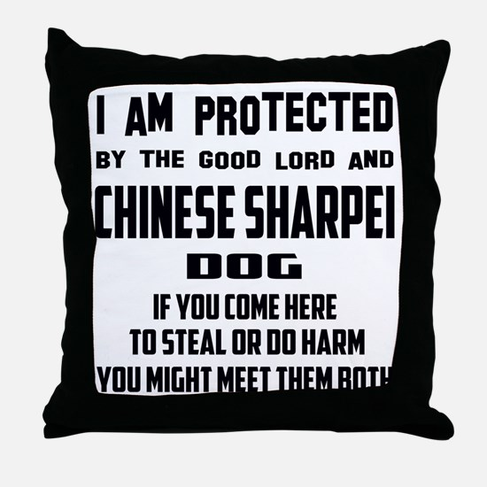 I am protected by the good lord and C Throw Pillow
