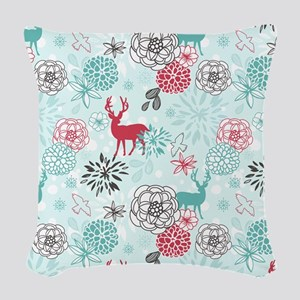 REINDEER FLORAL Woven Throw Pillow