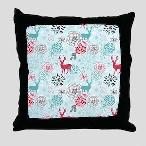 REINDEER FLORAL Throw Pillow