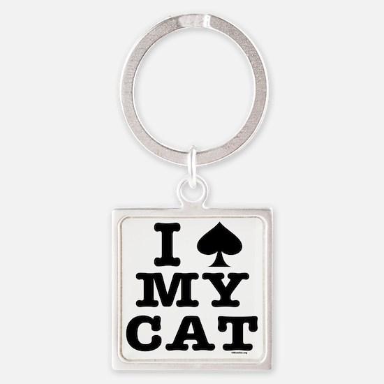 spadecat10x10bw-d Square Keychain