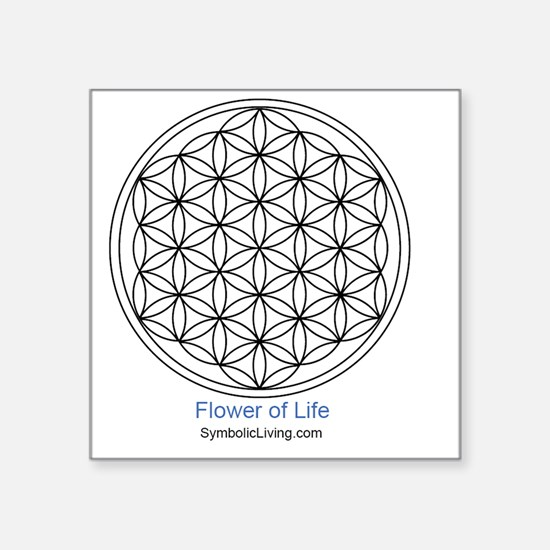 "3-FlowerofLife Square Sticker 3"" x 3"""