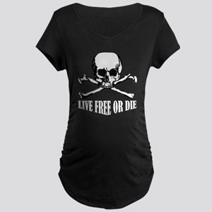Skull (Live Free or Die) Maternity Dark T-Shirt
