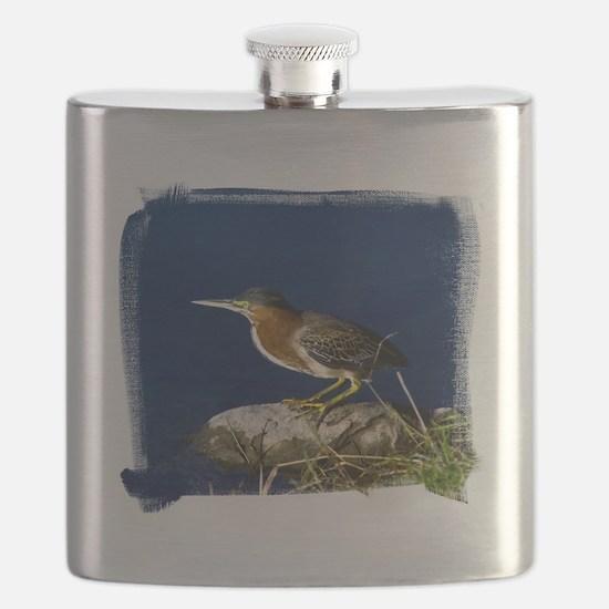 (16) Green-Backed Heron Flask